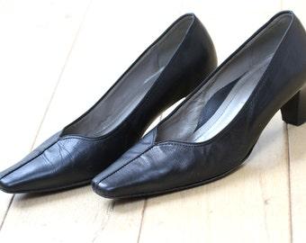 VIA MILANO Office Black Leather Shoes, UK Size 4.5
