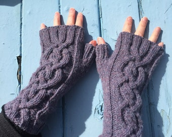 Heather Fingerless Mittens,Mittens,Mitts,Fingerless Gloves,Handknitted Mittens,Handknitted Gloves,Gloves,Cable Pattern Mittens,Wrist Warmers