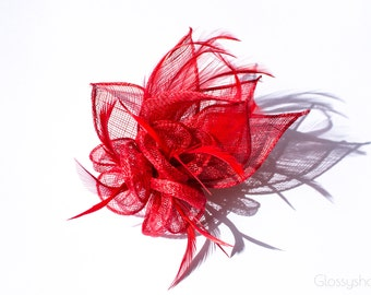 Red Sinamay Flower Feather Fascinator Clip