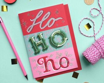 Ho Ho Ho Christmas Card - Hohoho Xmas Card - Christmas Card - Xmas Card - Christmas Card - Lettering Christmas Card - Lettering Xmas Card