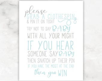 Baby Shower Games Digital Download Clothespin Game Baby Boy Shower Printables 8x10 and 5x7 Baby Shower Decor Baby Shower Sign BSPB