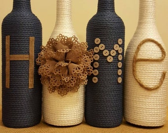 Decorated wine bottles - set of 4 'HOME', upcycled wine bottles, chic home decor, white and blue wine bottle decor