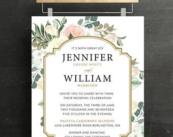 Wedding Invitation Set, Bridal Invitation, RSVP, Wedding, Floral, blush, Sage, Printable, DIY
