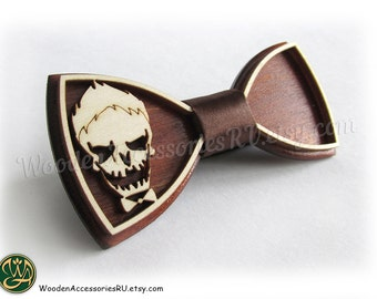 Wood bow tie Joker, wooden unisex accessory for comics fans