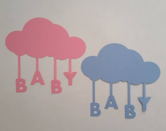 Cloud with baby word die cuts - Baby die cuts - Boy and girl die cuts - Baby shower die cuts - Baby reveal party decor- Baby shower decor
