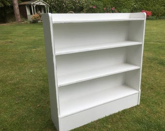 Hand painted vintage solid wood bookcase in strong white