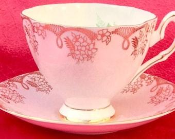 Pretty Pink Addiction-Salisbury Bone China Teacup and Saucer