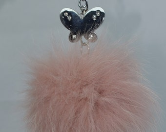 Real Fur pink Fox Pom pom keychain bag charm keychain heart medium size accessories/ accessori in pelliccia /Valentines women's Gift