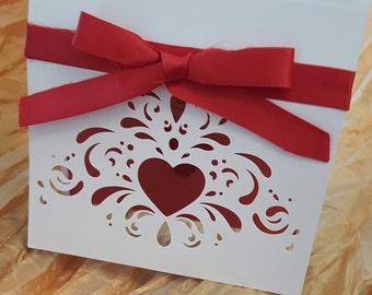 Valentine card with red bow