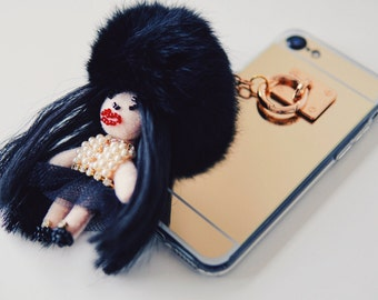 iPhone 7 phone fur phone case with doll charm Swarovski pearls and crystals golden