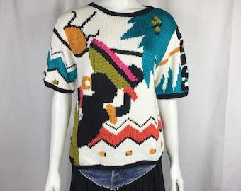Vtg 80s avant garde Carole Little for Saint Tropez west perite hand knit sweater tropical novelty avant garde small