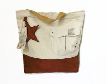 Canvas bag in cotton and imitation leather