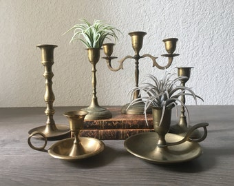 Vintage Brass Candlesticks, Mismatched Candle Holder Sets, Brass Accents, Wedding Decor, Photo Props, Home Decor, Table Decor, Unique Gifts