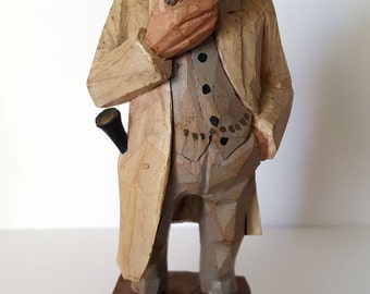 "Vintage Hand-carved German figurine, ""Internist"" wooden figurine, medical humor perfect for your favorite doctor, new or old!"