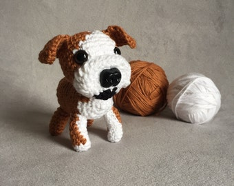 Crochet English bulldog, crochet bulldog, amigurumi bulldog, miniature dog, stuffed pet, bulldog puppy, made to order, custom pet replica