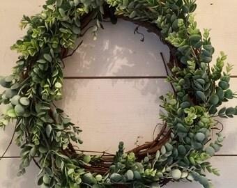 Greenery wreath, eucalyptus wreath, door wreath, wall wreath, rustic wreath, shabby chic, farmhouse wreath, french country decor, wreath