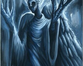 Angel, Fantasy Dark art Original Painting Acrylic A4 Size Canvas