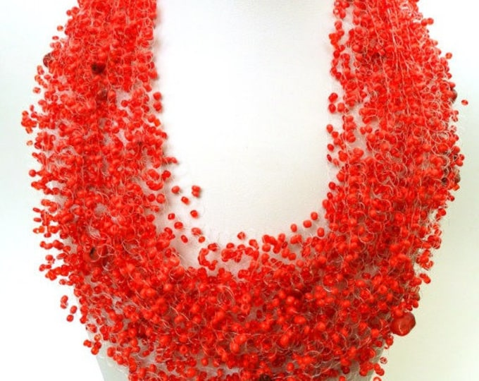 Red coral stone airy necklace crochet casual statement multistrand everyday cobweb natural stone casual romantic gentle gemstone bridesmaid