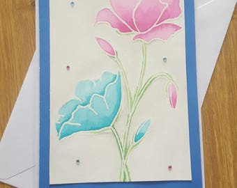 Handmade Flower card- Thank you card, Birthday card, Blank card, Watercolour card