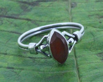 925 Sterling Silver Ring With 4 x 8  Red Onyx Gem Stone