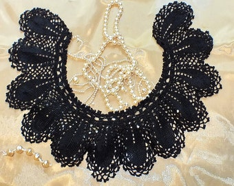 Vintage 50s Black Crochet Collar Necklace Boho Chic Victorian Pattern 100% Natural Silk Aristocratic Elegant Shiny Universal Use