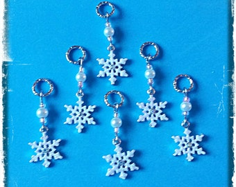 Hearing Aid Charms: Frosted Rhinestone Snowflakes with glass bead and man made pearl accent beads!