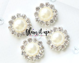 Pearl and Rhinestone Button-Pearl flatback-rhinestone flatback-pearl and rhinestone flatback -18 mm -Flat Back