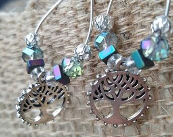 Beaded tree of life hoop earrings
