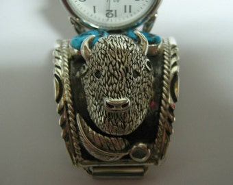 Mens sterling silver and turquoise buffalo head watch band