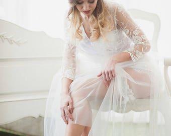 Boudoir Flower Lace Dress, Bridal Robe Lace, Tulle boudoir gown, boudoir lace gown, Embroidered Lace Bridal Robe, Lace luxury robe