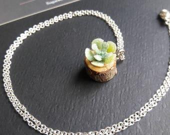 Wood Chip Succulent Charm Necklaces
