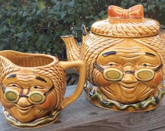 Cute 1960s Granny Teapot and Creamer Japan