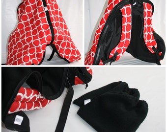 Saddle Backpack Carrier and stirrup iron covers