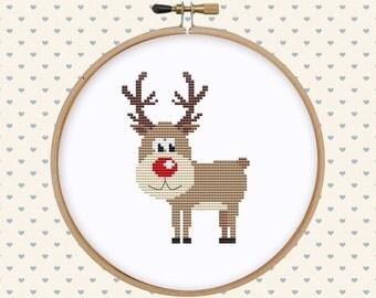 Christmas deer cross stitch pattern pdf - Christmas cross stitch - easy animal cross stitch - holiday cross stitch pattern, instant download