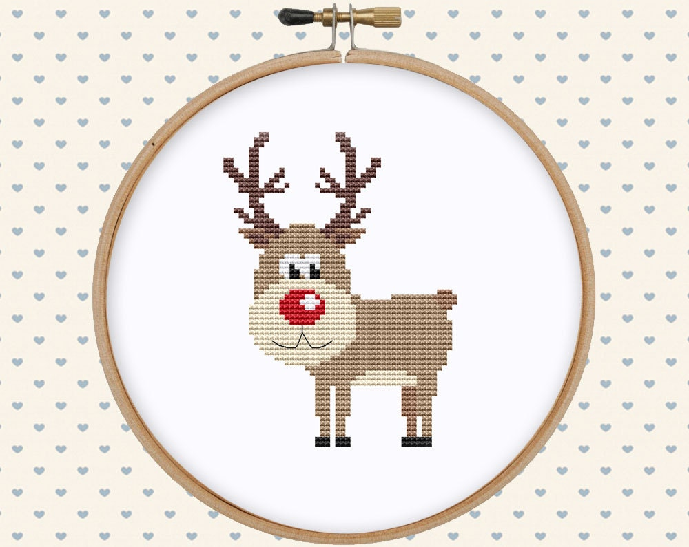 Christmas deer cross stitch pattern pdf Christmas cross