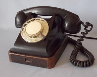 Soviet phone. Soviet telephone. Vintage phone. Vintage telephone. Rotary Dial Phone. Black rotary phone. Ebonite phone.