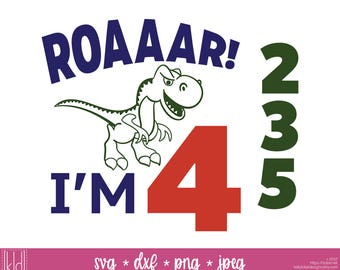 Dinosaur Birthday svg - Dinosaur svg - Birthday svg - T-Rex Birthday Shirt svg - Cute Dinosaur svg - Toddler Birthday svg - T-rex svg