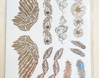 Body Tattoo Doré et argenté | Plumes et ailes d'anges | Arabesques tribales | Encre imprimée