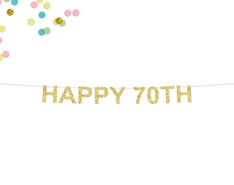 Happy 70th Glitter Banner | 70th Birthday Banner | Birthday Banner | Seventy | 70th Party Banner | Seventieth Birthday | 70th Decorations
