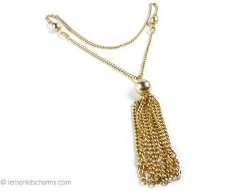 Vintage Aluminium Chain Tassel Necklace, Jewelry 1960s 1970s Mid-century, Gold Goldtone, Lariat Style, Boho Bohemian, Pendant