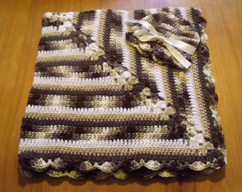 "NEW Handmade Crochet 29.5"" Baby Blanket and Hat/Beanie Set - Brown & Tan Camo Variegated - A Wonderful Baby Shower Gift!! - SEE NOTE!"