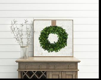 Boxwood Wreath Sign - Faux Boxwood - Boxwood - Wreath - Home Decor - Sign - Farmhouse - Farmhouse Style - Joanna Gaines - Spring - Handmade