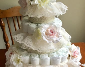 Floral and Lace Diaper Cake