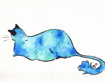 "Cat Illustration - 6x9"" - Watercolor and Gouache"