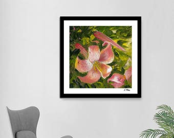 Wild Lilies. Original Oil Painting. Blooming Spring. Pink Flowers. Home Decor. Fine Art. Fine Gift Idea. Instant Download. Free Shipping