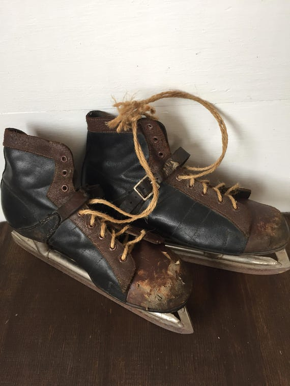 Vintage Ice Skates, Hockey Decor, Vintage Decor, Rustic, 1960's Ice Skates, Leather, Ice Skates, Lodge, Cottage.