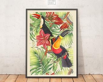 Tropical print, Toucan art, Wall art, Digital print, Downloadable art, Printable poster, Digital download, Modern interiors, Home decor