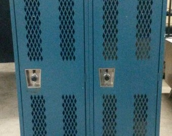 Vintage Industrial School locker, All Steel Locker, Blue finish, Old school lockers, Lockers opened, Great for shop, work, or home