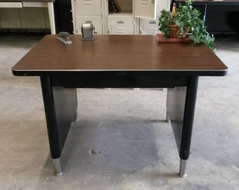 Vintage Metal Desk, Secretary Desk, Small Metal Desk, Original Black Finish, Single Drawer, Vintage Office, Nice Condition, *Local P/Up only