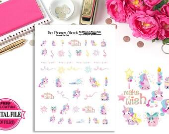 Kawaii Unicorn Party // Birthday // Celebrate // Unicorn // Printable Planner Stickers // Planner Printables // Kawaii